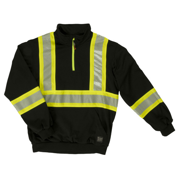 Work King Safety Class 1 X-Back Enhanced Visibility Black Pullover SJ19BLK Front