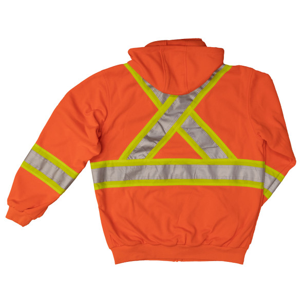 Work King Safety Class 2 X-Back Hi Vis Fluorescent Orange Zip-Up Fleece Hoodie S494 Back