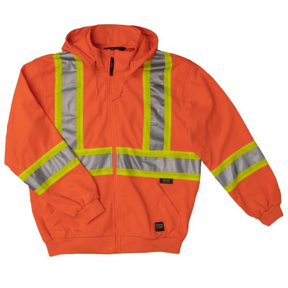 Work King Safety Class 2 X-Back Hi Vis Fluorescent Orange Zip-Up Fleece Hoodie S494 Front