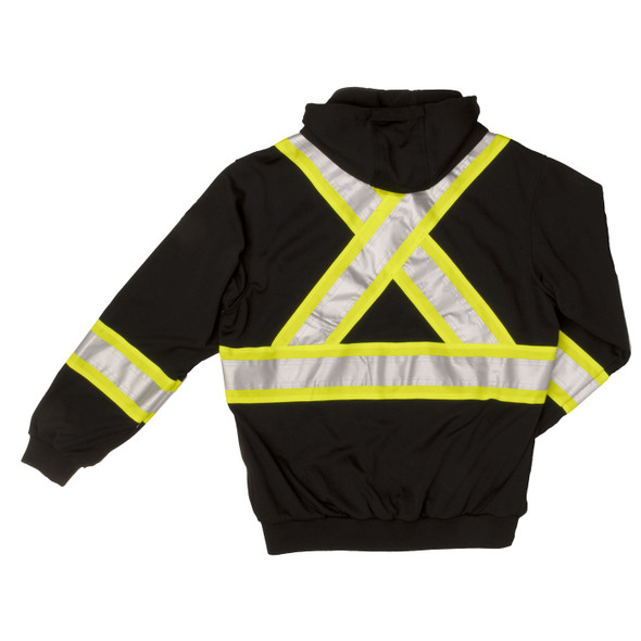Work King Safety Class 1 Enhanced Visibility X-Back Black Zip-Up Fleece Hoodie S494BLK Back