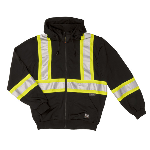 Work King Safety Class 1 Enhanced Visibility X-Back Black Zip-Up Fleece Hoodie S494BLK Front