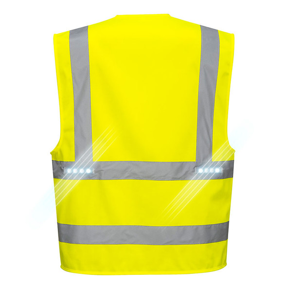 PortWest Class 2 Hi Vis LED Vega Safety Vest L470 Back
