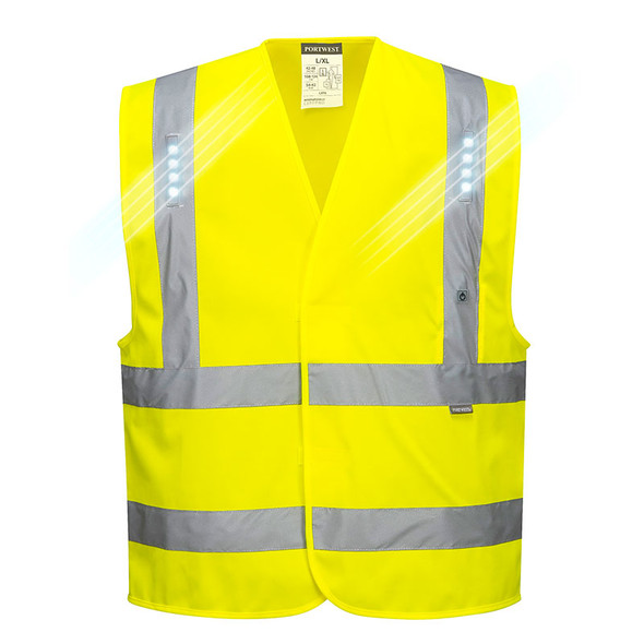 PortWest Class 2 Hi Vis LED Vega Safety Vest L470 Front