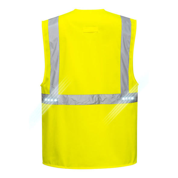 PortWest Class 2 Hi Vis LED Orion Executive Safety Vest L476 Back