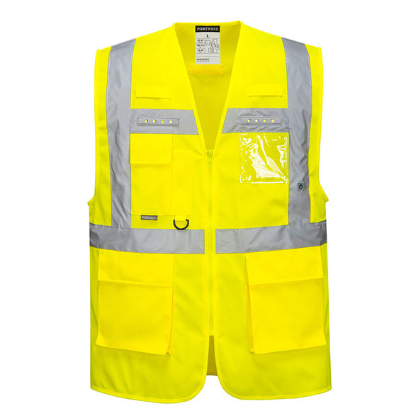 PortWest Class 2 Hi Vis LED Orion Executive Safety Vest L476 Front