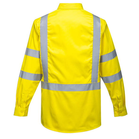 PortWest FR Class 3 Hi Vis Yellow Long Sleeve Shirt FR95YE Back