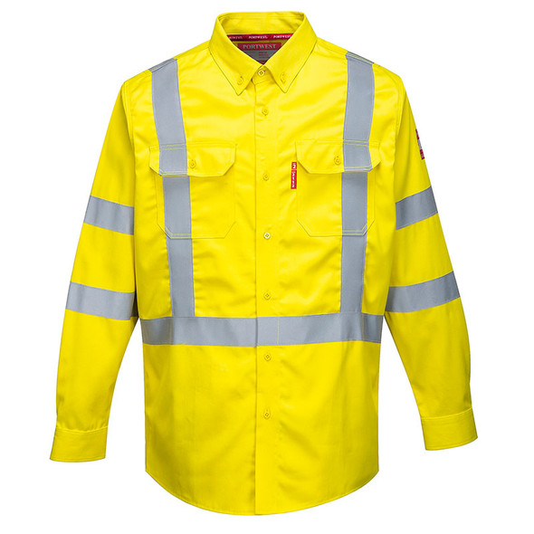 PortWest FR Class 3 Hi Vis Yellow Long Sleeve Shirt FR95YE Front