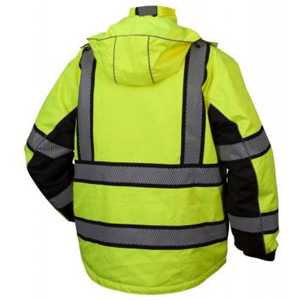 Pyramex Class 3 Hi Vis Lime Black Bottom Teflon Treated Multi-Layer 2-in-1 Parka RPB36 Back