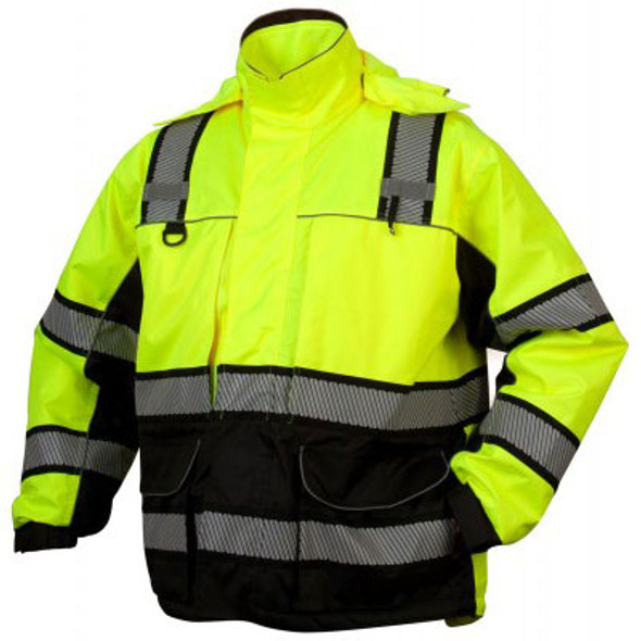Pyramex Class 3 Hi Vis Lime Black Bottom Teflon Treated Multi-Layer 2-in-1 Parka RPB36 Front