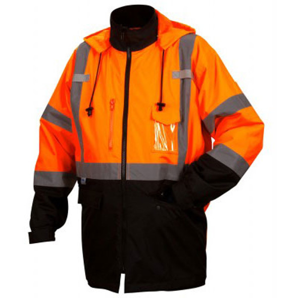 Pyramex Class 3 Hi Vis Orange Black Bottom 2-in-1 Parka RP3120 Front
