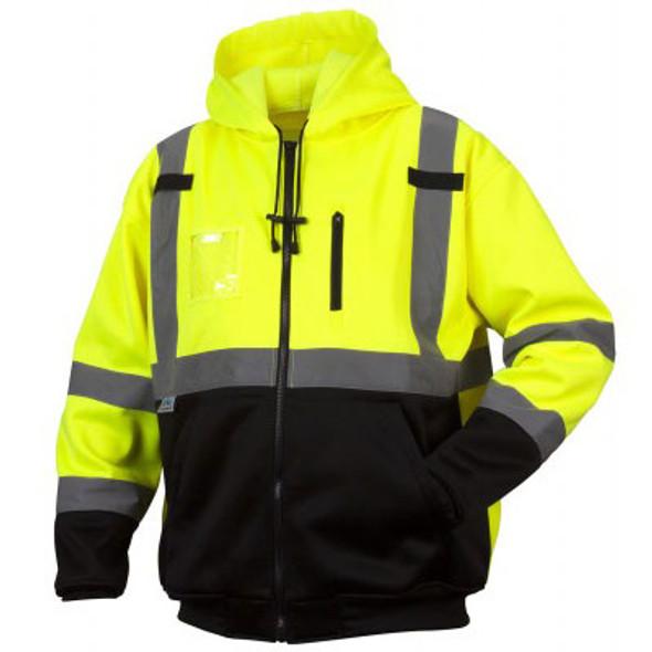 Pyramex Class 3 Hi Vis Teflon Treated Lime Black Bottom Zipper Sweatshirt RSZH3310 Front