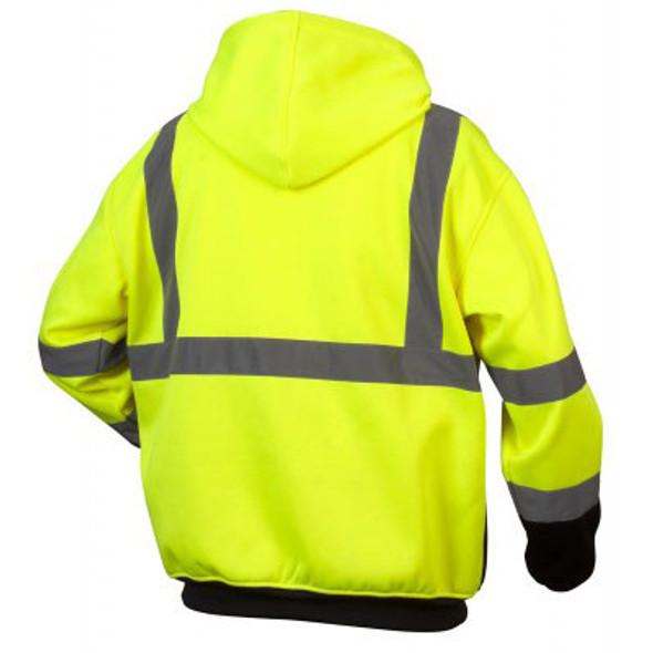 Pyramex Class 3 Hi Vis Teflon Treated Lime Black Bottom Zipper Sweatshirt RSZH3310 Back