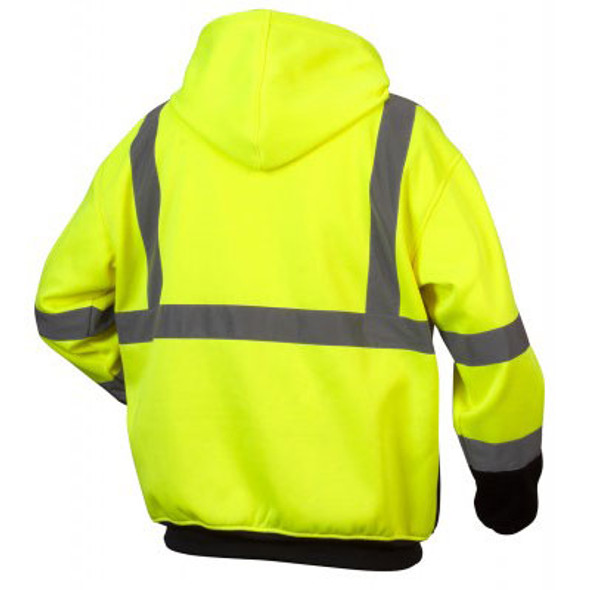 Pyramex Class 3 Hi Vis Teflon Treated Lime Black Bottom Zipper Sweatshirt RSZH3310 Back