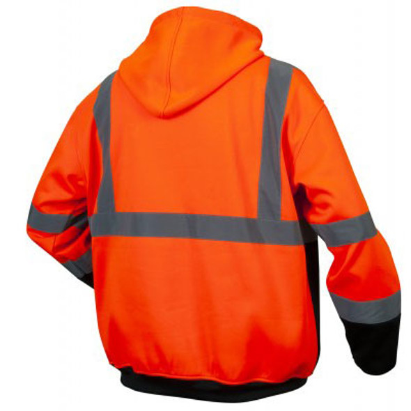 Pyramex Class 3 Hi Vis Orange Black Bottom Teflon Treated Zipper Sweatshirt RSZH3320 Back