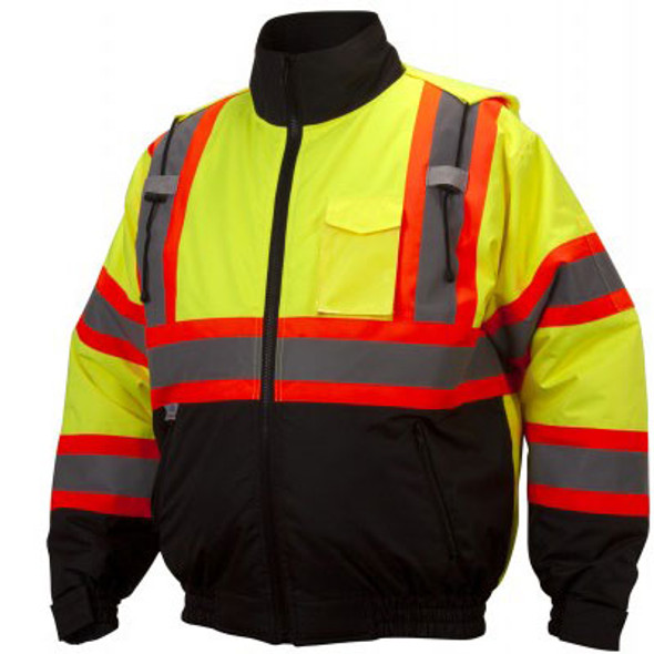 Pyramex Class 3 X-Back Hi Vis Two-Tone Lime Jacket RCJ3210 Front