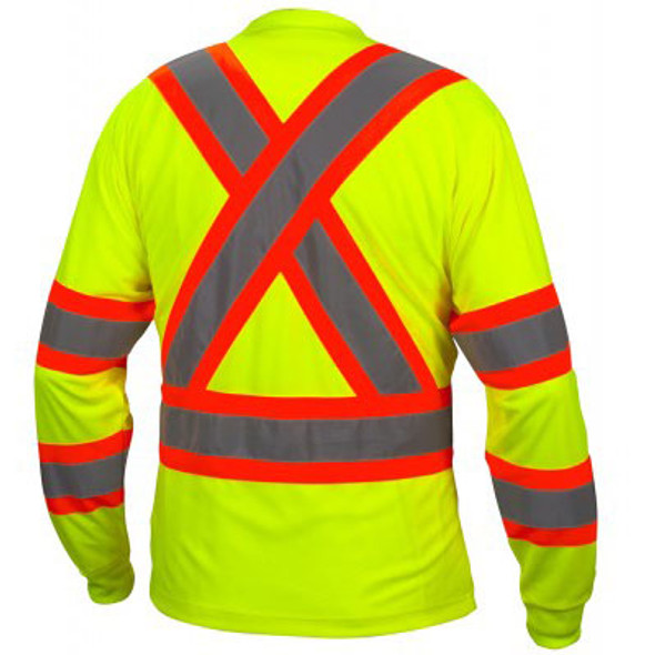 Pyramex Class 3 X-Back Hi Vis Two-Tone Lime Moisture Wicking Long Sleeve T-Shirt RCLTS3110 Back
