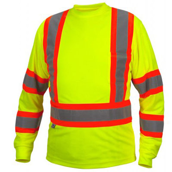 Pyramex Class 3 X-Back Hi Vis Two-Tone Lime Moisture Wicking Long Sleeve T-Shirt RCLTS3110 Front