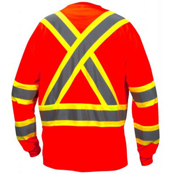 Pyramex Class 3 X-Back Hi Vis Two-Tone Orange Moisture Wicking Long Sleeve T-Shirt RCLTS3120 Back
