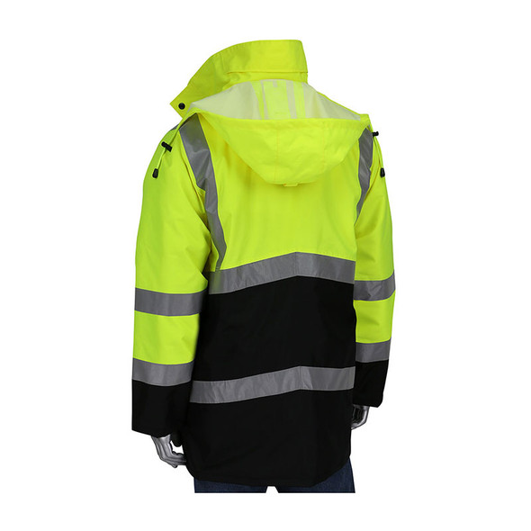 PIP Class 3 Hi Vis Black Bottom Coat with Quilted Insulation 343-1750 Yellow/Back