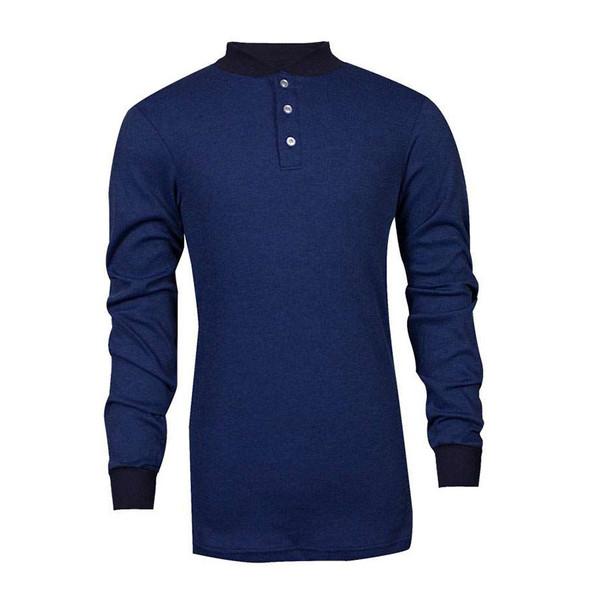 TECGEN FR Select Moisture Wicking Royal Blue Made in USA Henley C541NRBBSLS