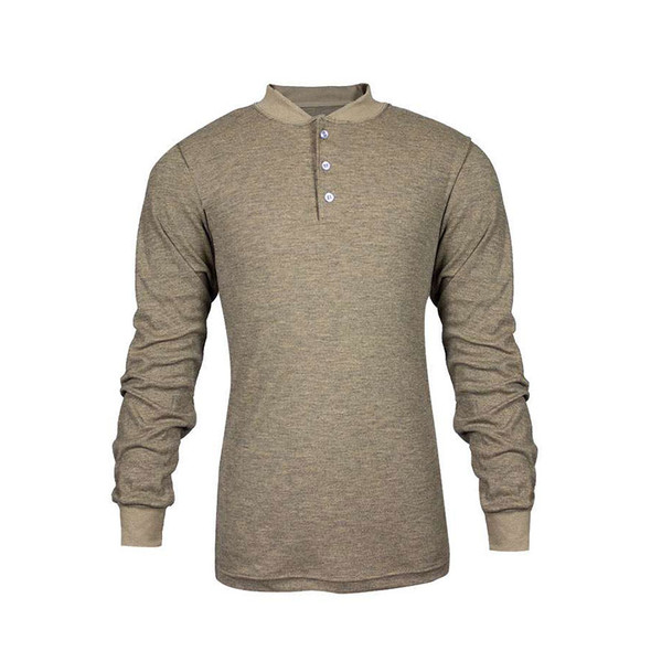 TECGEN FR Select Moisture Wicking Tan Henley C541NTNBSLS