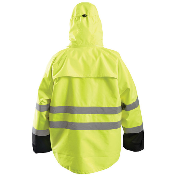 Occunomix Class 3 Hi Vis Yellow 2-in-1 Black Bottom Rip Stop Bomber Jacket with Fleece Lining LUX-RSDJKT Back