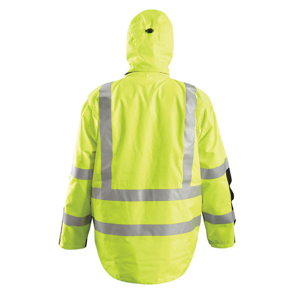 Occunomix Class 3 Hi Vis Yellow 3-in-1 Black Bottom Rip Stop Flannel Parka SP-RSPARKA Back