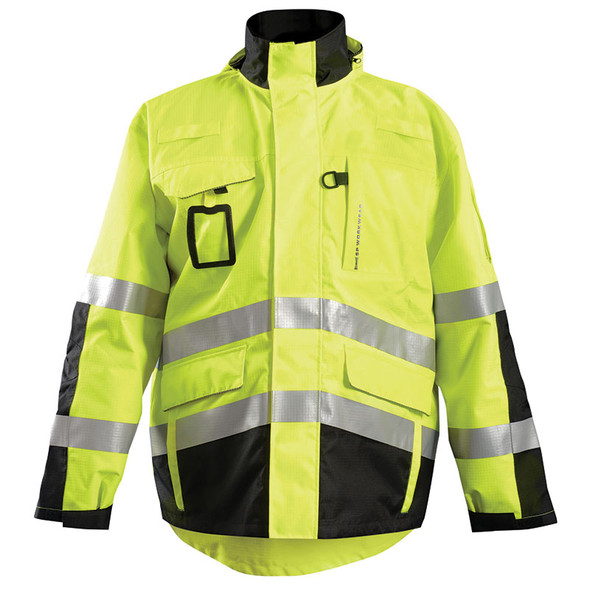 Occunomix Class 3 Hi Vis Yellow 3-in-1 Black Bottom Rip Stop Flannel Parka SP-RSPARKA Front