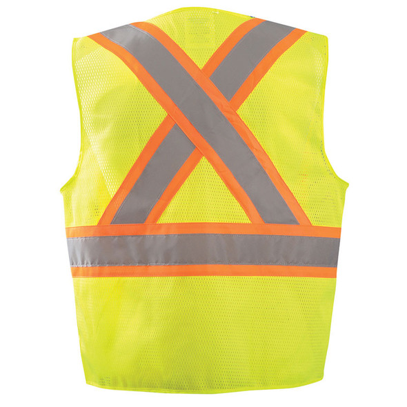 Occunomix Class 2 Hi Vis X-Back Two-Tone Surveyor Mesh Vest ECO-ATRNSMX Yellow Back