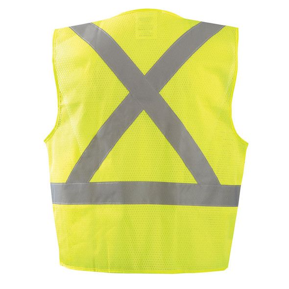 Occunomix Class 2 Hi Vis X-Back Vest with Zipper ECO-IMZX Yellow Back