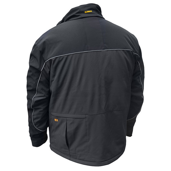 DeWALT Heated Lightweight Soft Shell Black Work Jacket with Adapter DCHJ072B Back