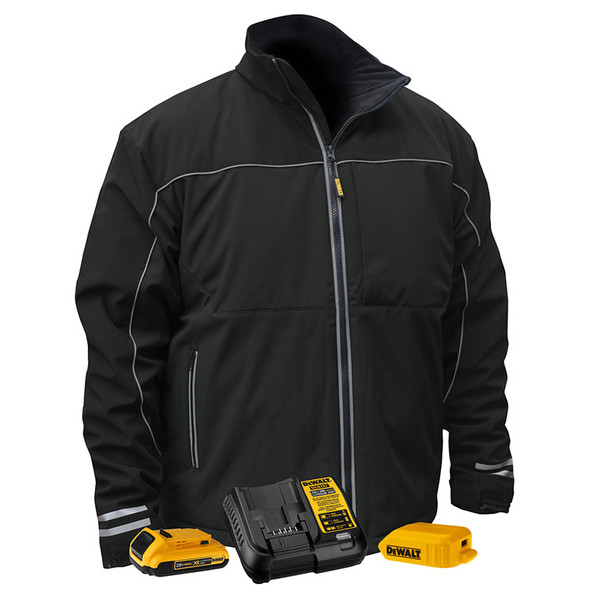 DeWALT Heated Lightweight Soft Shell Black Work Jacket Kit DCHJ072D1 Kit
