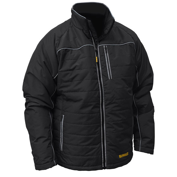 DeWALT Heated Quilted Black Work Jacket with Adapter DCHJ075B Front