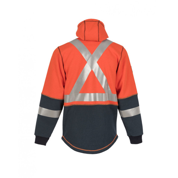 DragonWear FR Non-ANSI Hi Vis Orange Navy Bottom X-Back Elements Lightning Jacket DFML135  X-Back