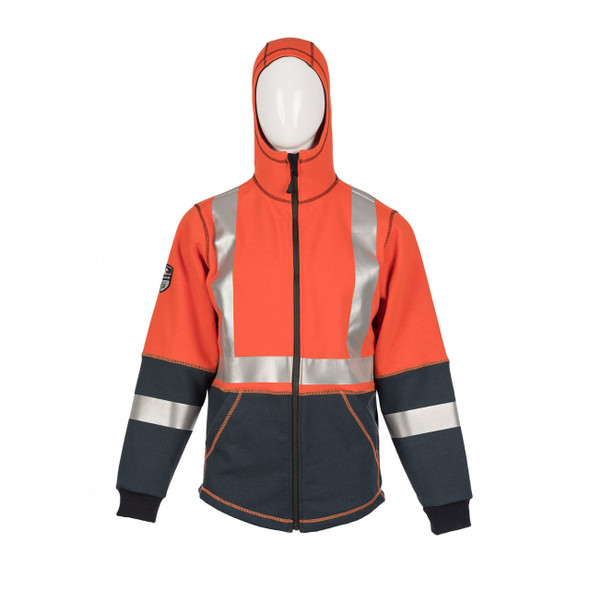 DragonWear FR Non-ANSI Hi Vis Orange Navy Bottom X-Back Elements Lightning Made in USA Jacket DFML135 with Hood