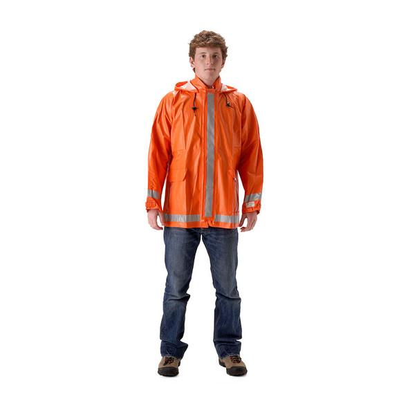 NASCO FR Enhanced Visibility Orange ArcLite Made in USA Rain Jacket 1103JBO Front