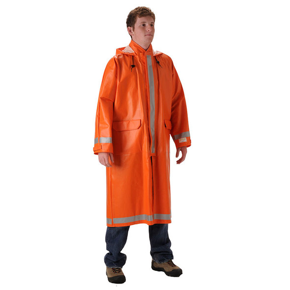 NASCO FR Enhanced Visibility Orange ArcLite Made in USA Raincoat 1103CBO Front