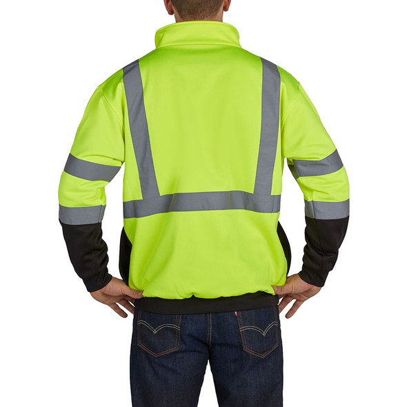 Utility Pro Class 3 Hi Vis Yellow Black Bottom 1/4 Zip Pullover with Teflon Protector UPA542 Back
