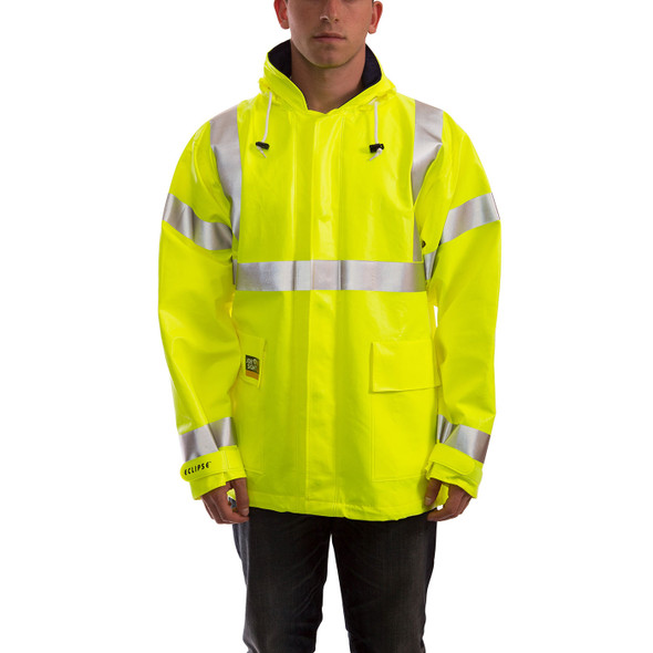 Tingley FR Class 3 Hi Vis Yellow Eclipse Rain Jacket J44122 Front