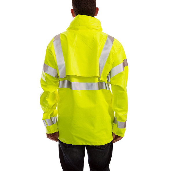 Tingley FR Class 3 Hi Vis Yellow Eclipse Rain Jacket J44122 Back
