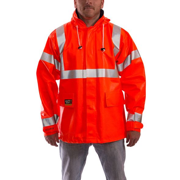 Tingley FR Class 3 Hi Vis Orange Eclipse Rain Jacket J44129 Front