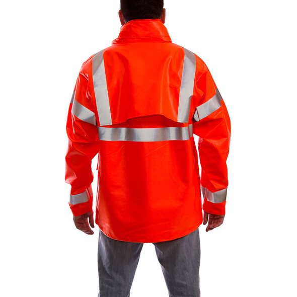 Tingley FR Class 3 Hi Vis Orange Eclipse Rain Jacket J44129 Back