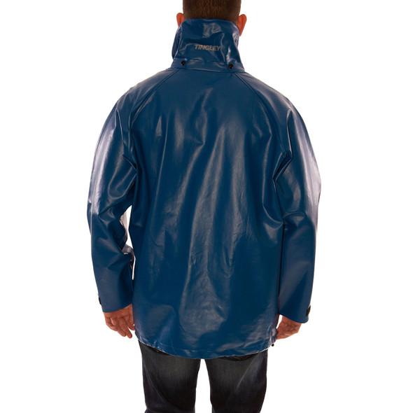 Tingley FR Industrial Blue Eclipse Rain Jacket J44241 Back (Hood Sold Separately)