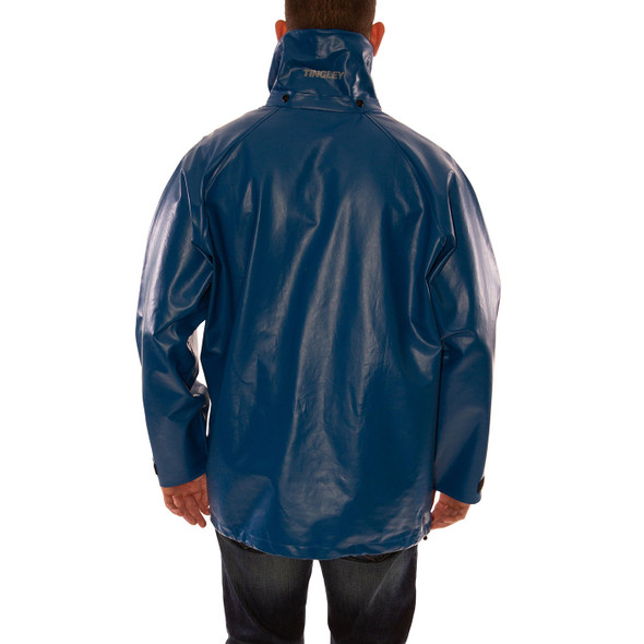 Tingley FR Industrial Blue Eclipse Rain Jacket J44241 Back (Hood Sold Separately)