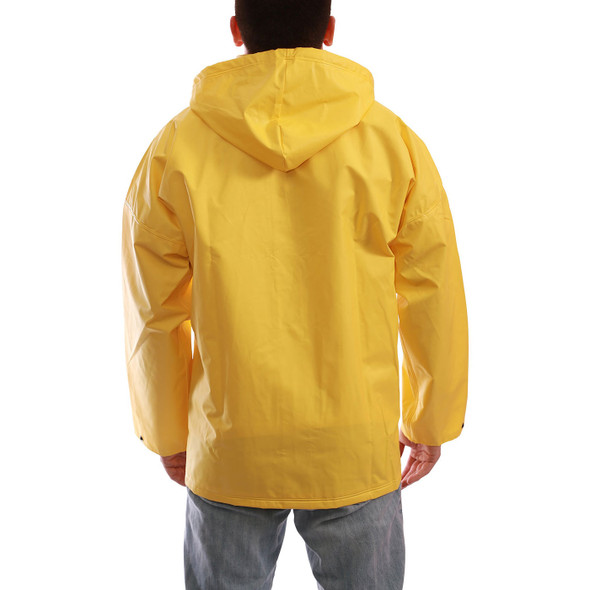 Tingley ASTM D6413 Industrial Yellow DuraScrim Hooded Rain Jacket J56107 Back