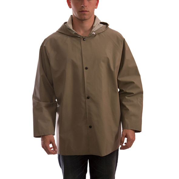 Tingley ASTM D6413 Industrial Olive Drab Magnaprene Chem Splash Jacket J12148 Front
