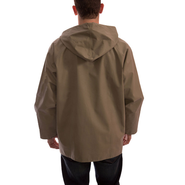 Tingley ASTM D6413 Industrial Olive Drab Magnaprene Chem Splash Jacket J12148 Back