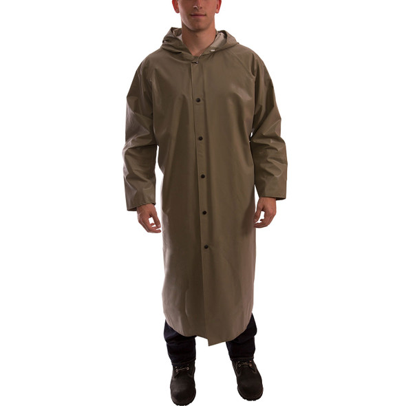Tingley ASTM D6413 Industrial Olive Drab Magnaprene Chem Splash Full Length Coat C12168 Front