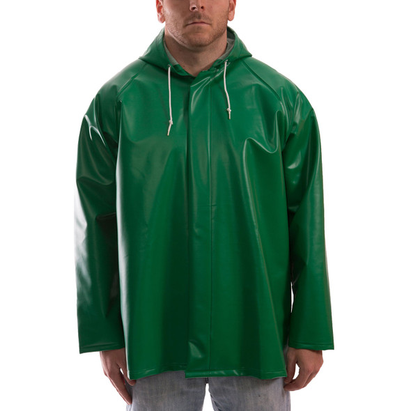 Tingley ASTM D6413 SafetyFlex Green Chem Splash Jacket with Hood J41108 Front