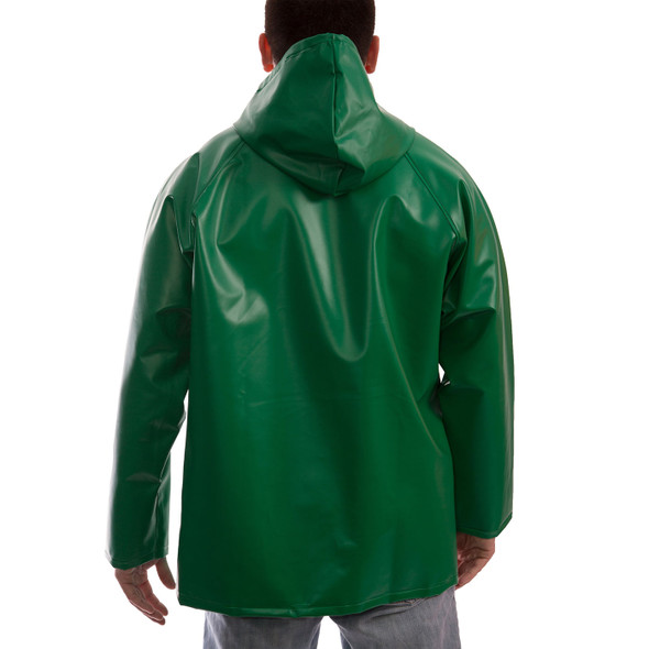 Tingley ASTM D6413 SafetyFlex Green Chem Splash Jacket with Hood J41108 Back